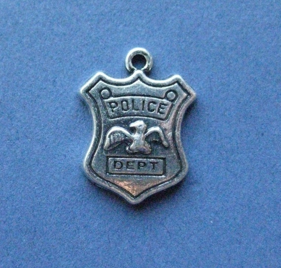 4 Police dept charms antique silver tone G59