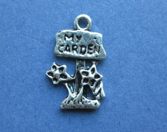 8 My Garden Charms - My GardenPendant- Garden Charm - Flower Charm - Antique Silver - 22mm x 14mm -- (No.73-10141)