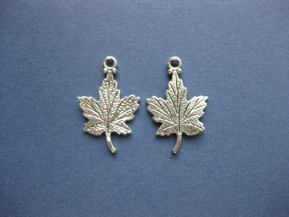 20 x BRONZE LEAF Charms Pendant with Cute Caterpillar Hole  23mm Double Sided