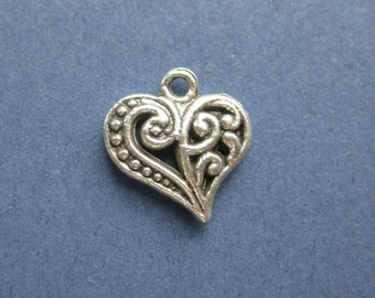 10 Heart Charms - Heart Pendants - Heart - Love - Antique Silver - 13mm x 9mm -- (No.24-10333)