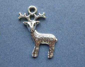 10 Reindeer Charms - Reindeer Pendants - Animal Charms - Deer Charm - Deer Pendant - Deer - Antique Silver - 24mm x 19mm -- (No.58-10227)