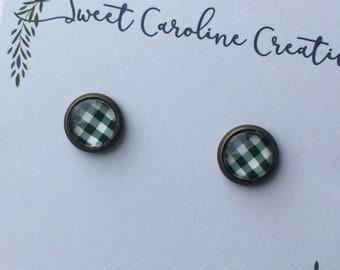 Tiny Stud Earrings - Antique Bronze 8mm.