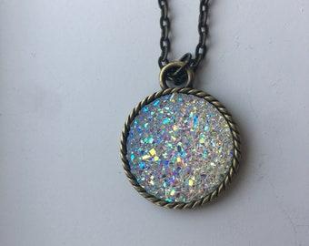 "DRUZY Round pendant necklace. 25mm / 1"" diameter.  Varying chain lengths. Antique Bronze"