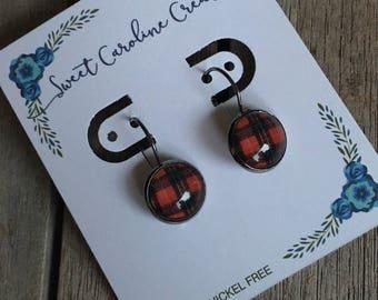 Red Tartan dangle earrings
