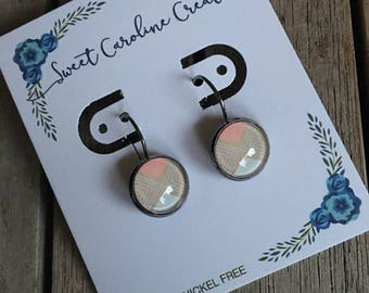 Pink Tan Geometric dangle earrings