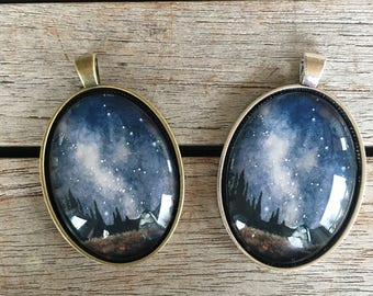 Large Oval Pendant - Camping
