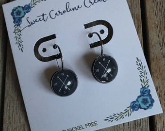 Black Compass with Arrows dangle earrings