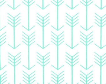 Premier Prints - Arrows Canvas Fabric - White /Mint - Twill - sold by the 1/2 yard