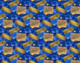 Polar Express Ticket & Bell Toss Fabric - Gold / Blue - sold by the 1/2 yard