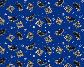 Polar Express Toss Fabric - Royal Blue - sold by the 1/2 yard