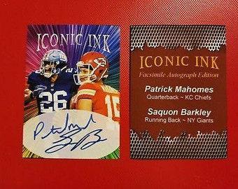 Patrick Mahomes   Saquon Barkley Rookie Autograph Edition Custom Card -  Free Shipping 1ee2db585
