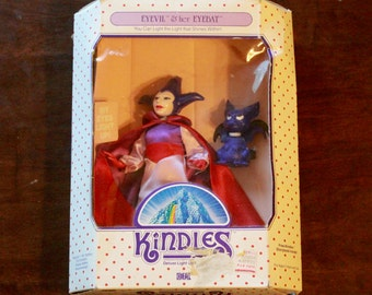 "Rare 1985 ""Eyevil and Her Eyebat"" Kindles Deluxe Light Up Figure/ Ideal Toys/ New in Box!"