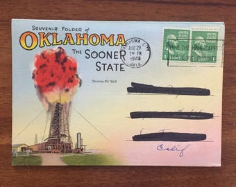 1940s Oklahoma Book/ 9 Double-Sided Photos/ Used and Stamped