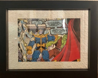 Float Framed Thanos Comic Strip from Silver Surfer #55 / Marvel / Father's Day / Thanos / Wall Decor / Infinity War / Wall Art / Gift