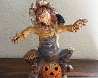 Large Ceramic Silly Scarecrow on a Jack O Lantern / Vintage Halloween / Hand Painted / Fall or Autumn Decoration