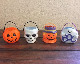 Vintage Halloween Miniature Candy Bucket / Trick or Treat Pail /Pumpkin / Skeleton / Harvest Pumpkin / Scarecrow / Ghost /Choose One