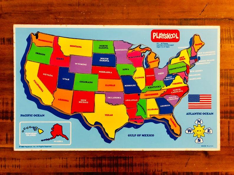 1986 USA Playskool 40 Piece Puzzle / Map / United States | Etsy