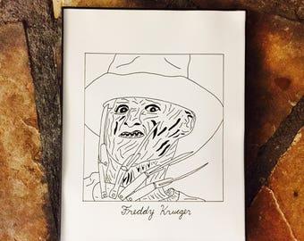 "Subpar Freddy Krueger Drawing Print/ Nightmare on Elm Street/Horror Halloween/Monster/Hand-Drawn/TV/Movie/8.5"" x 11""/Thick Card Stock Paper!"