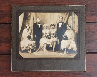 Wedding Party Portrait / Vintage Photograph / 1920's Bride and Groom / Large Paper Frame / Black and White Photo / Sepia Photo / Antique