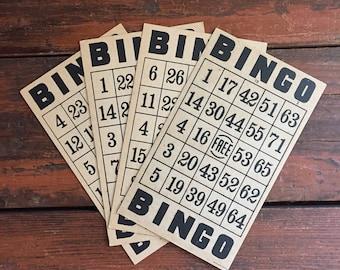 Set of 4 Bingo Cards / Vintage Game / Cardboard / Craft Supply / Multiple Available