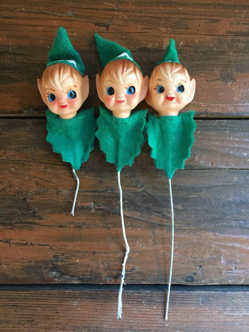 Christmas Elf Pick  Vintage Christmas Tree Ornament  Package Tie On  Craft Supply  Choose One or More