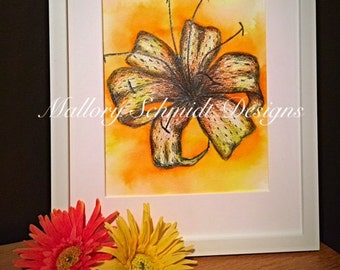 Lily flower Home decor Watercolor Colored pencil drawing Yellow Wall art Wall hanging Mixed media Fine art drawing Yellow Orange Flower