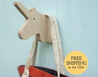 Wall hooks - Unicorn wall hook in birch: playful wooden wall hanger for coats bags hats \u0026 backpacks - unicorn nursery gift unicorn decor & Wall hooks Hippo wall hook in birch: playful wooden animal | Etsy