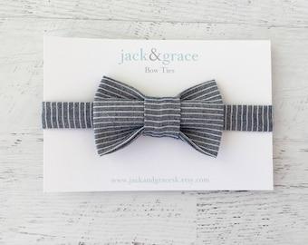 Baby Bow Tie, Toddler Bow Tie, Boy Bow Tie, Modern Bow Tie, Baby Wedding Bow Tie, Navy Stripes