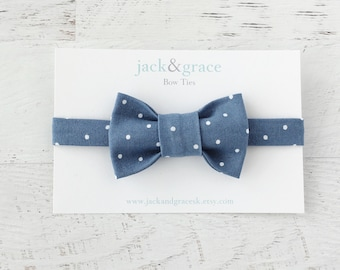 Baby Bow Tie, Toddler Bow Tie, Boy Bow Tie, Modern Bow Tie, Baby Wedding Bow Tie, Blue and White, Polka Dot