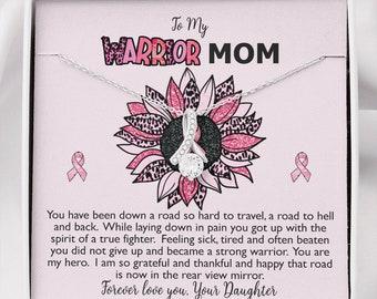 Breast Cancer Survivor Ribbon Necklace Gift for Mom