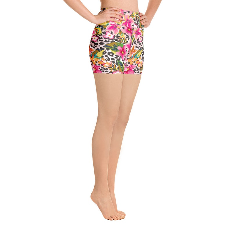 Yoga Shorts for women with flowers and leopard print soft stretchy comfortable