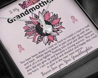 Grandmother Breast Cancer Survivor Ribbon Necklace Gift