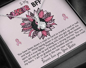 Breast Cancer Survivor Ribbon Necklace Gift for Best Friend