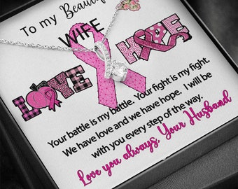 Wife Gift Breast Cancer Ribbon Necklace from Husband Love and Hope