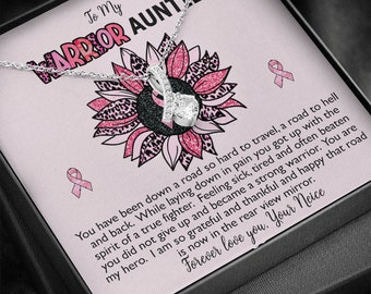 Breast Cancer Survivor Ribbon Necklace Gift for Auntie