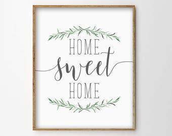 Home Sweet Home Print, Home Sweet Home Printable, Simple Typography Print, Home Decor Print, Printable Art, Greenery