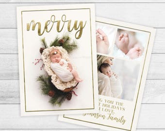 New Baby Christmas Card, Birth Announcement holiday Card, Christmas Birth Announcement, Photo Christmas Card, Faux Stamped Gold Foil