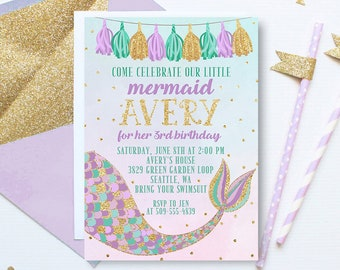 Mermaid Birthday Invitation, Mermaid Invitation, Purple and Gold Invitation, Mermaid Invite, Mermaid birthday party