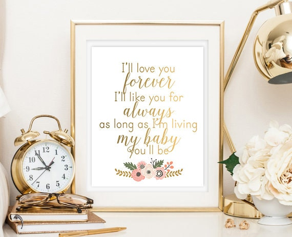 I'll Love You Forever Quote Baby Girl Digital Printable Etsy Cool I Ll Love You Forever Quote