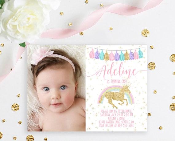 Unicorn First Birthday Invitation Magical