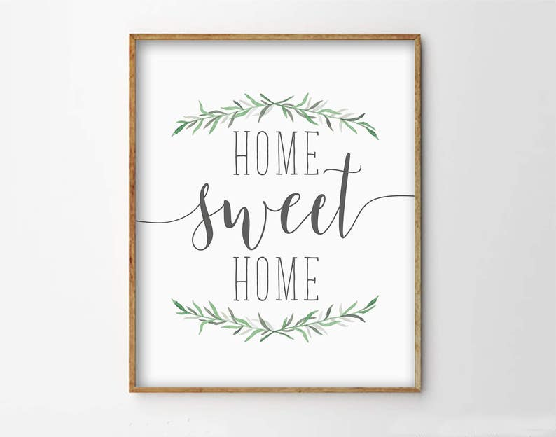photograph regarding Home Sweet Home Printable identified as Property Adorable Household Print, Household Cute Residence Printable, Uncomplicated Typography Print, House Decor Print, Printable Artwork, Greenery