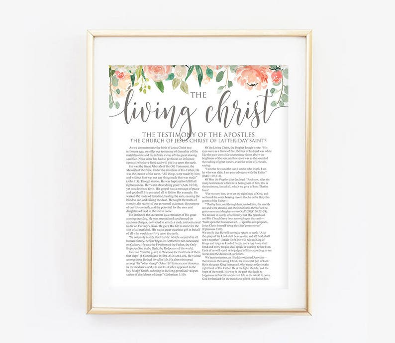 photo relating to The Living Christ Printable named Floral Residing Christ, LDS Dwelling Christ, The Dwelling Christ, Floral, Coral, Innovative LDS Print, LDS Printable