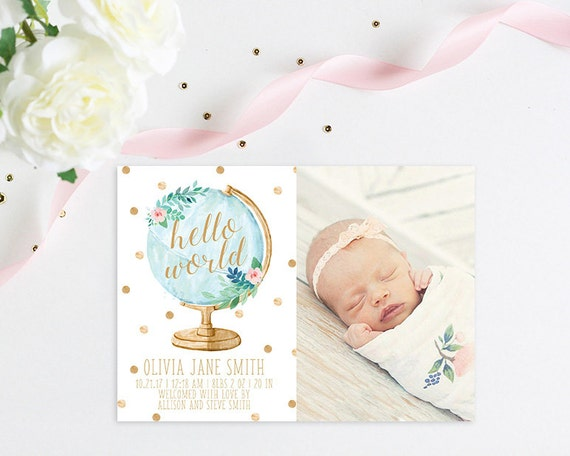 Hello World Baby Girl Birth Announcement Modern Birth