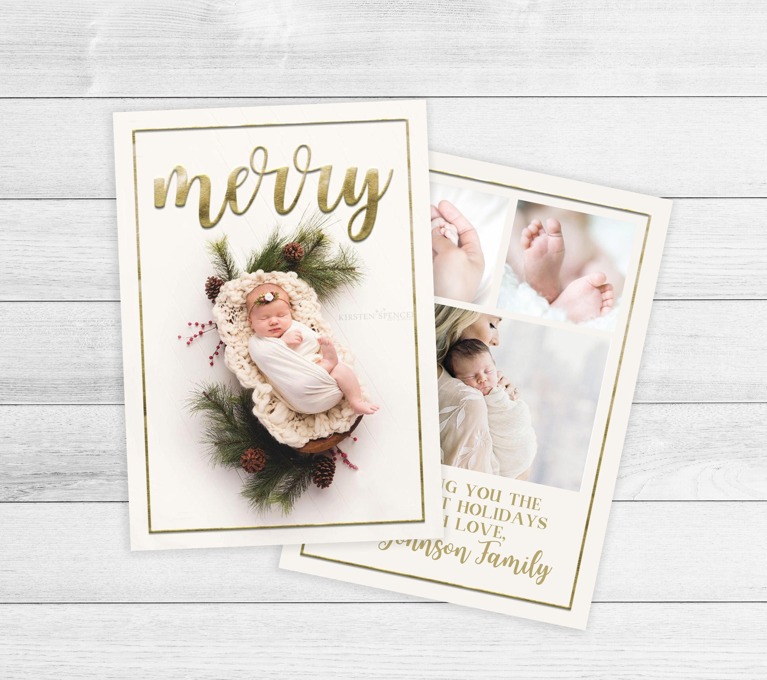 New Baby Christmas Card Birth Announcement holiday Card | Etsy