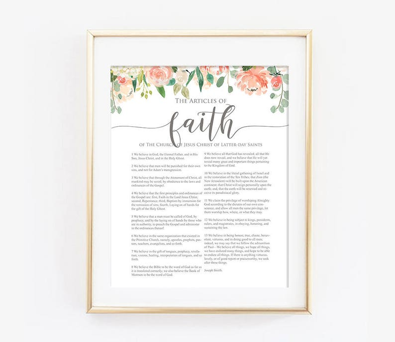 photograph relating to Articles of Faith Printable known as LDS Articles or blog posts of Religion Floral, Revolutionary Information of Religion, LDS Printable Artwork, Poster Print