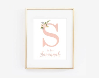 Custom Floral Letter and Name Digital Printable Pink Baby Girl Art Print