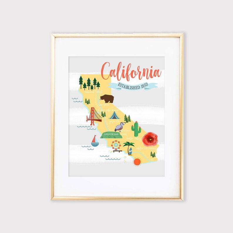 Kalifornien Karte.California Illustrierte Karte Kalifornien Kinder Karte Karte Druckbare Kunst Cartoon Karte