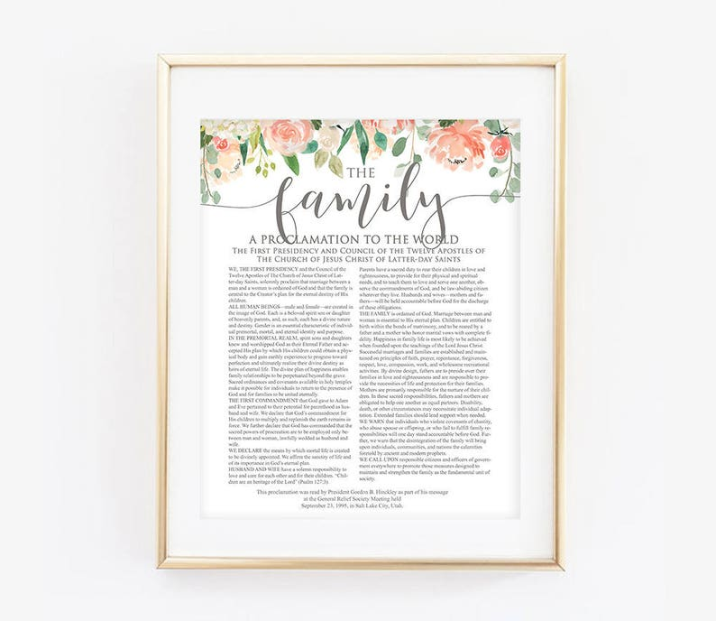 graphic relating to Family Proclamation Printable called Floral Loved ones Proclamation, LDS Loved ones Proclamation, The Proclamation toward the Spouse and children, Floral, Coral, Innovative LDS Print, LDS Printable