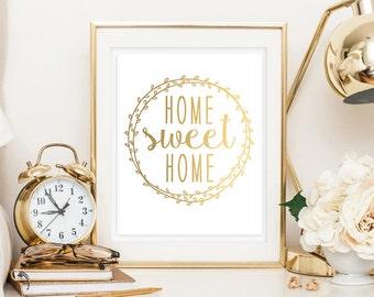 Home Sweet Home Faux Gold Foil Digital Printable Family Room Art Decor