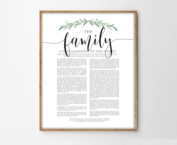 the family proclamation print lds family proclamation modern etsy